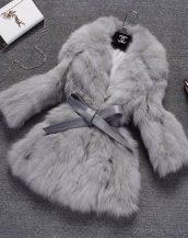 gri bağcıklı bayan kürk ceket sk18020