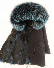 turkuaz kırçıllı astarlı kapşonlu siyah bayan mont sk18481