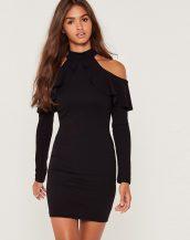 siyah omuz dekolteli mini elbise sk18788