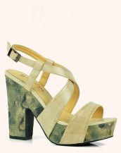bej kalın topuk desenli sandalet sk20612