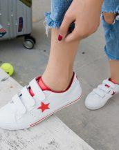 kırmızı beyaz 3 bantlı deri spor ayakkabı sk21667
