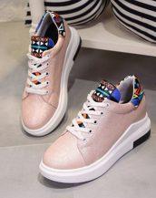 pembe gizli topuk bağcıklı sneaker sk21540