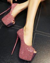 pembe yüksek platform simli ayakkabı sk21164