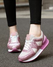 pembe yüksek taban parlak spor ayakkabı sk21464