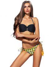 siyah emoji ve zincir detaylı bikini sk21275