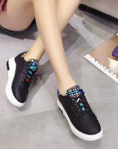 siyah gizli topuk bağcıklı sneaker sk21540