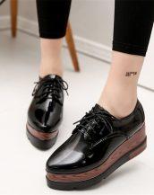 siyah yüksek taban parlak oxford ayakkabı sk21687