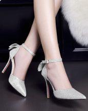 gümüş parlak fiyonklu stiletto sk22317
