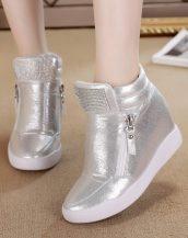 gümüş taşlı gizli topuk sneaker sk22686