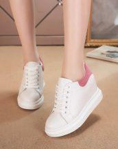 pembe beyaz süet detaylı gizli topuk ayakkabı sk22700