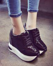 siyah payetli platform gizli topuk ayakkabı sk23245