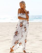 beyaz düşük omuzlu çiçekli uzun elbise sk23940