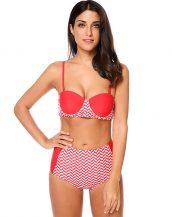kırmızı beyaz geometrik desen yüksek bel bikini sk24169