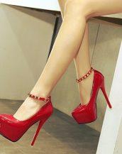 kırmızı zımba detaylı platform rugan ayakkabı sk23893