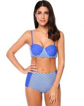 mavi beyaz geometrik desen yüksek bel bikini sk24169