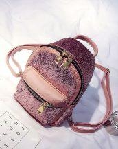 pembe payetli ufak sırt çantası sk23591