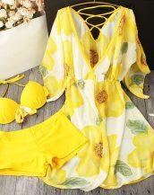 sarı pareolu şortlu bikini takımı sk24125