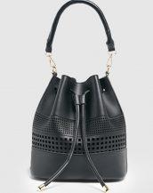 siyah lazer kesim büzgülü çanta sk23614