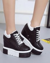 siyah platform yüksek taban ayakkabı sk23879