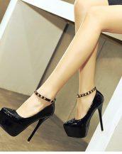 siyah zımba detaylı platform rugan ayakkabı sk23893