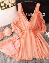 turuncu pareolu fırfırlı bikini takım sk24135
