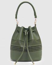 yeşil lazer kesim büzgülü çanta sk23614