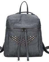 gri zımba ve fermuar detaylı sırt çantası sk24361