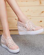 pembe dantel detaylı gizli topuk ayakkabı sk24800