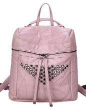 pembe zımba ve fermuar detaylı sırt çantası sk24361