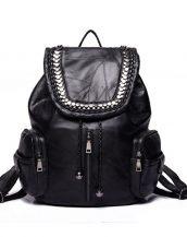 siyah metal detaylı deri sırt çantası sk24320