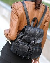 siyah patchwork deri sırt çantası sk24373