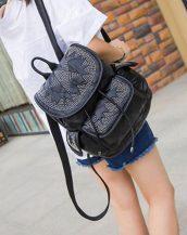 siyah yıldız desen zımbalı sırt çantası sk24342