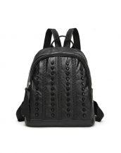 siyah zımba ve örgü detaylı sırt çantası sk24380