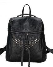 siyah zımba ve fermuar detaylı sırt çantası sk24361
