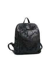 siyah zımbalı deri büyük sırt çantası sk24305