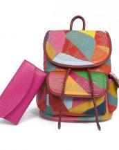 çok renkli yıldız desen zımbalı sırt çantası sk24342