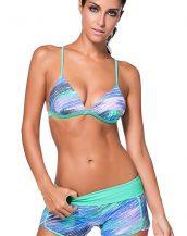 su yeşili desenli şortlu bikini sk24642