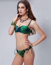 yeşil yaprak desenli askılı bikini sk24635