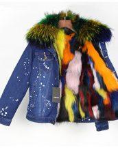 çok renkli kürk astarlı kot ceket sk25254