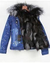 gri kürk astarlı kot ceket sk25254