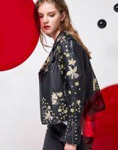 siyah zımba ve nakışlı deri ceket sk25912