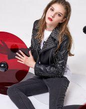 siyah zımbalı kısa deri ceket sk25793