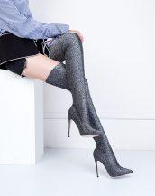 gri simli diz üstü çizme sk26874