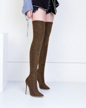 kahverengi simli diz üstü çizme sk26874