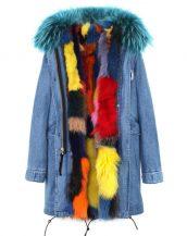 mavi denim renkli tilki kürklü uzun kapüşonlu parka sk26372