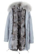 mavi gri kot tilki kürklü uzun kapüşonlu parka sk26372