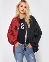 siyah kırmızı baskılı spor ceket sk26493