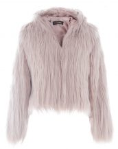 bej kapüşonlu kısa kürk ceket sk27588