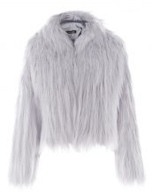 gri kapüşonlu kısa kürk ceket sk27588