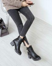 siyah tokalı kısa bootie sk27414